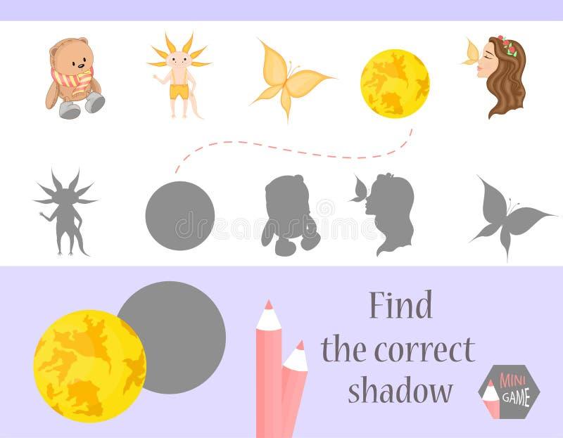 发现正确阴影,孩子的教育比赛 逗人喜爱的动画片动物和自然 也corel凹道例证向量 库存例证