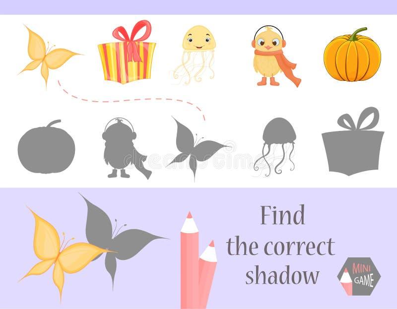发现正确阴影,孩子的教育比赛 逗人喜爱的动画片动物和自然 也corel凹道例证向量 向量例证