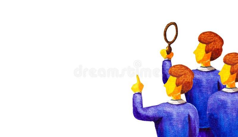 发现答复的团队工作,想法,解答 三个商人看拷贝空间 一拿着一个放大镜, 库存例证
