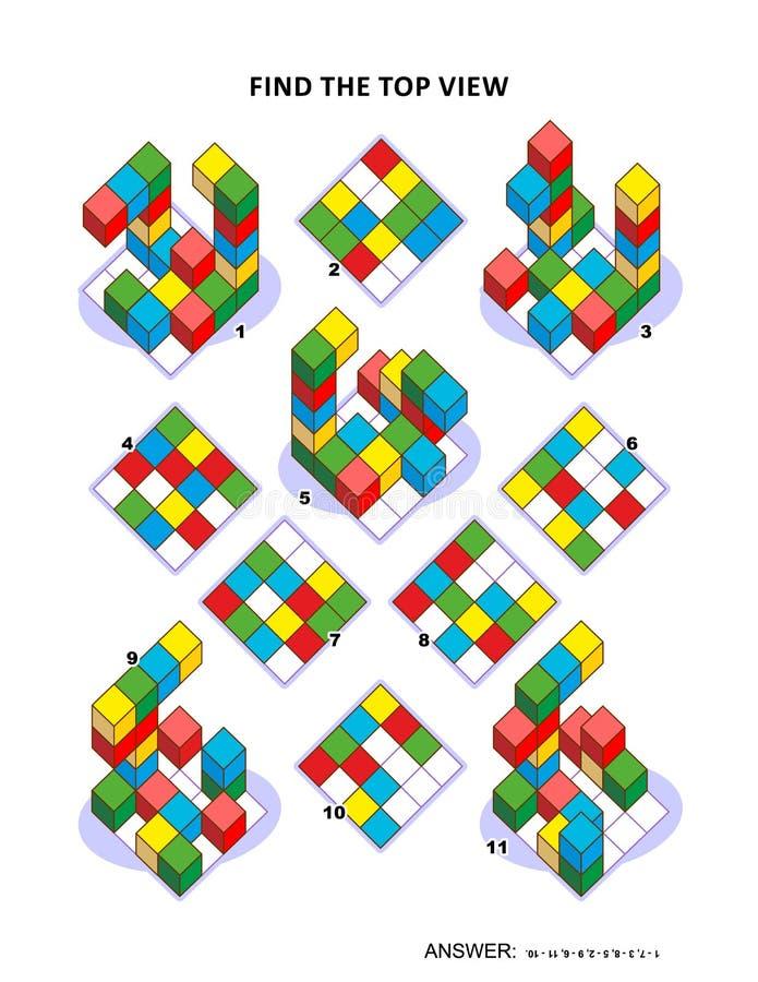 发现算术难题顶视图视觉 皇族释放例证