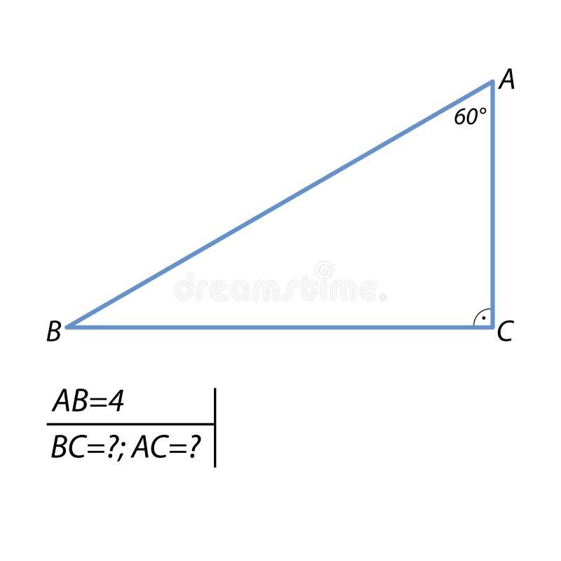 发现腿和弦任务在一个正三角形 向量例证