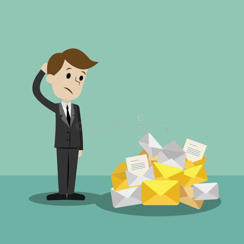 发现自己的商人或经理去是繁忙的 很多电子邮件 库存例证