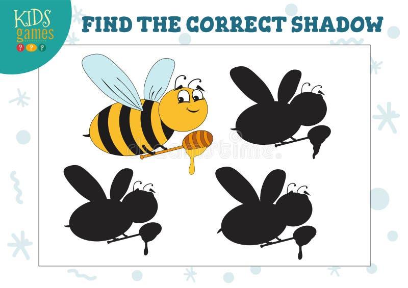 发现逗人喜爱的蜂的正确阴影与蜂蜜教育学龄前孩子比赛 库存例证