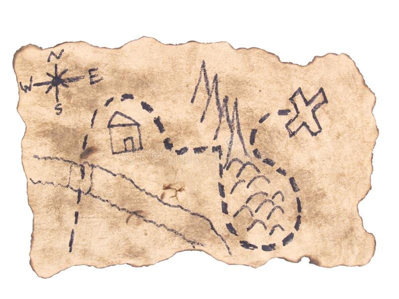 发现金子的珍宝地图 免版税库存图片