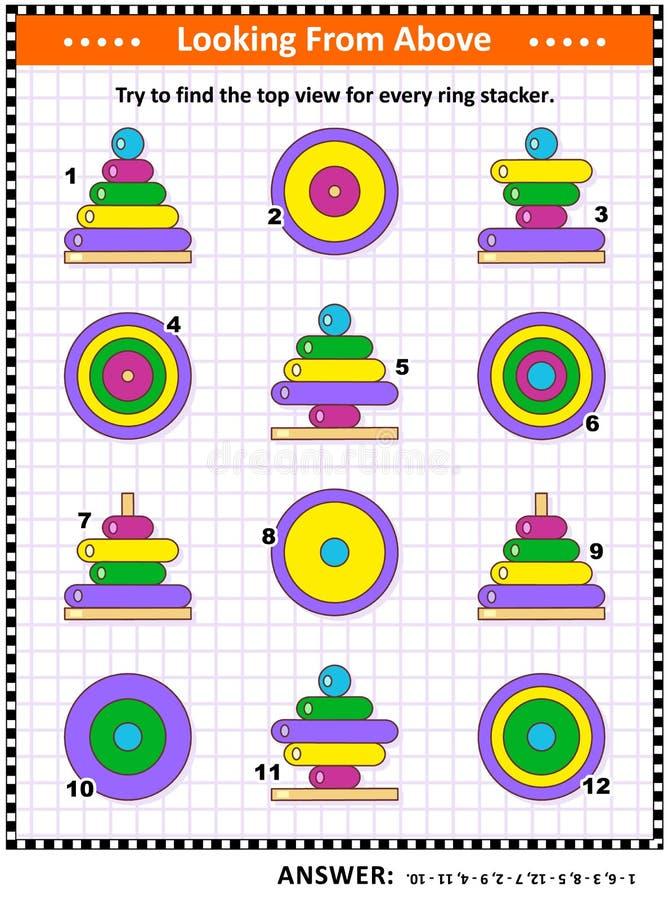 发现顶视图与堆积玩具的圆环的图片谜语 向量例证