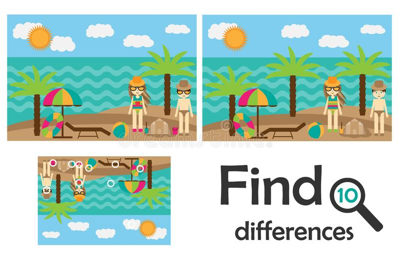发现10个区别,孩子的比赛,在动画片样式,孩子的教育比赛,学龄前活页练习题活动,任务的夏天海滩 库存例证