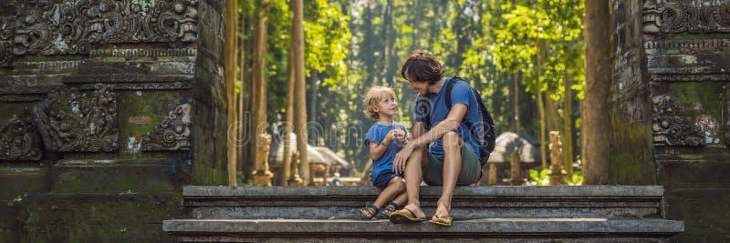 发现Ubud森林的爸爸和儿子旅客在猴子森林,巴厘岛印度尼西亚里 旅行与儿童概念横幅 库存图片