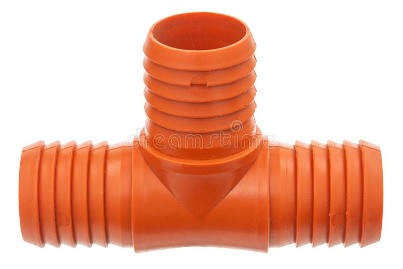 发球区域由水管的设施的塑料制成,分支的连接的在给水系统的,被隔绝在白色 免版税图库摄影
