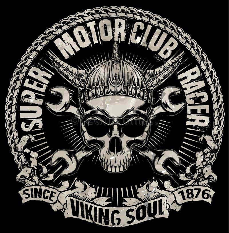 发球区域头骨摩托车图形设计 库存例证