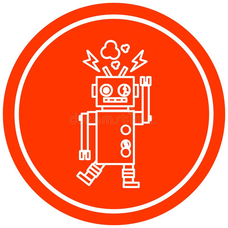 发生故障的机器人圆象 库存例证