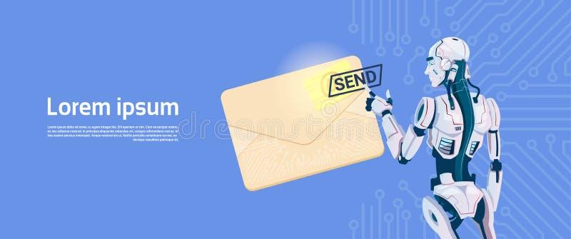 发电子邮件,未来派人工智能机制技术的现代机器人举行信封 皇族释放例证