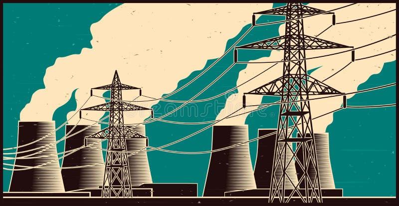 发电站和高压线在减速火箭的样式 皇族释放例证