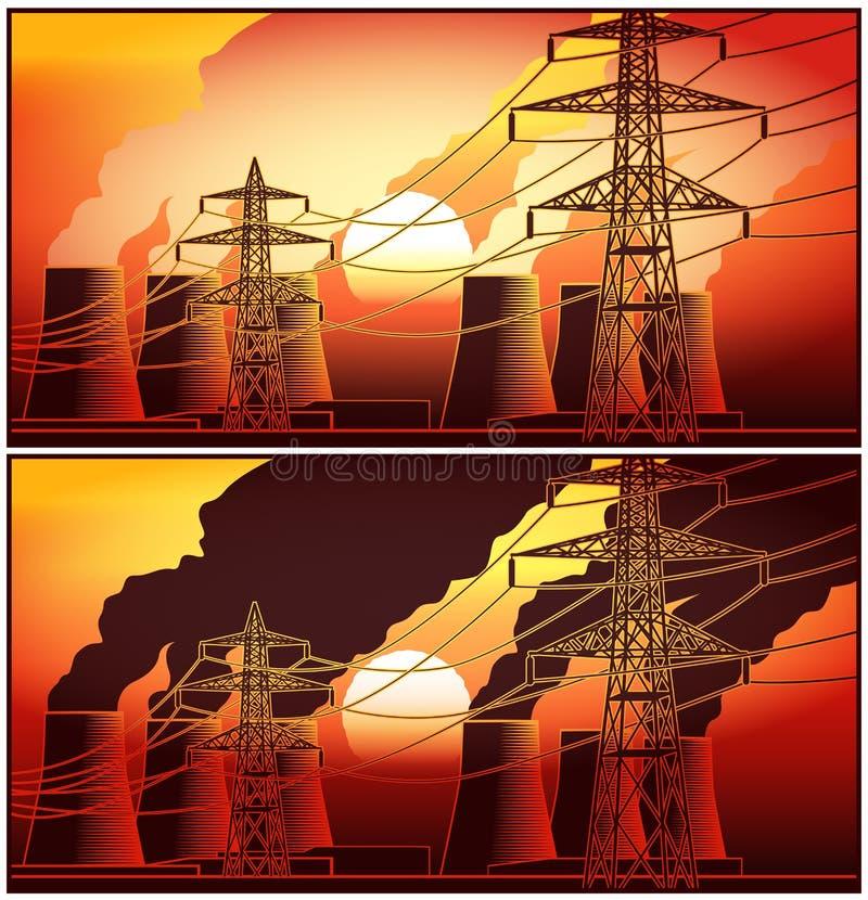 发电站和高压线在日落 库存例证