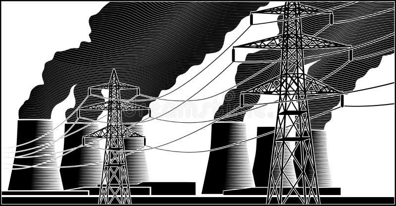 发电站和高压线 库存例证