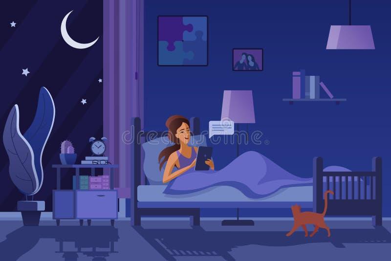 发短信在夜平的传染媒介例证的妇女 库存例证
