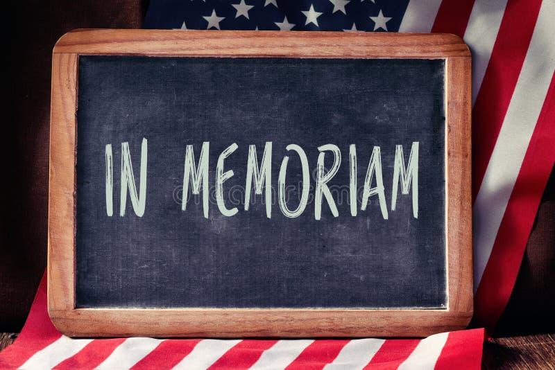 发短信在美国的memoriam和旗子 库存照片