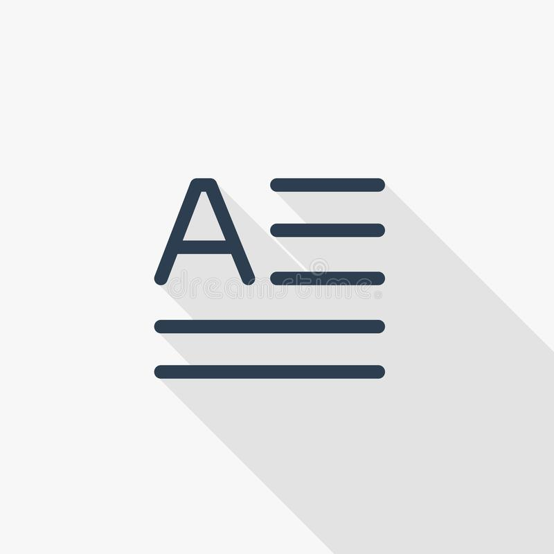 发短信给内容,块,报纸文章稀薄的线平的颜色象 线性传染媒介标志 五颜六色的长的阴影设计 向量例证