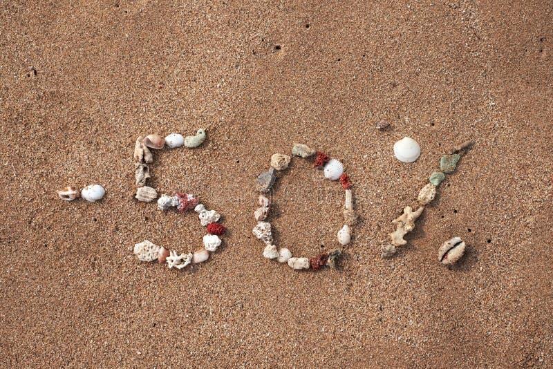发短信给在壳做的沙子的50百分之 免版税图库摄影