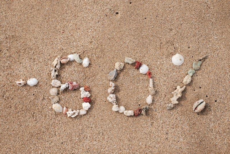 发短信给在壳做的沙子的60百分之 免版税库存照片