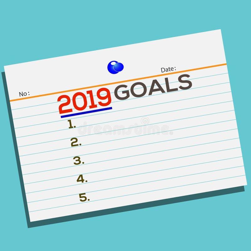 发短信给在纸的2019个目标与您的贺卡的创造性的设计 向量例证