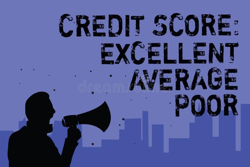 发短信给显示信用评分优秀一般的贫寒的标志 creditworthness规定值举行megapho的报告人的概念性照片水平 皇族释放例证
