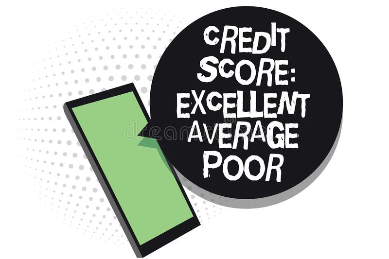 发短信给显示信用评分优秀一般的贫寒的标志 creditworthness规定值报告手机receivin的概念性照片水平 向量例证
