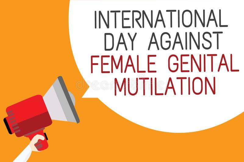 发短信给显示国际天的标志反对女性生殖切断 举行megapho的概念性照片了悟天2月人 向量例证