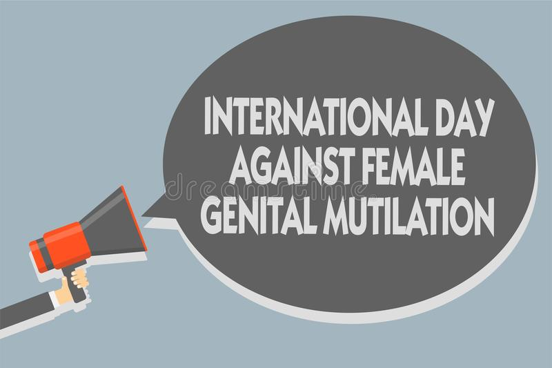 发短信给显示国际天的标志反对女性生殖切断 举行megapho的概念性照片了悟天2月人 库存例证