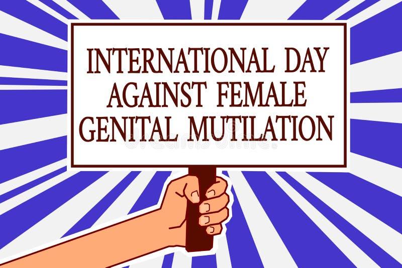 发短信给显示国际天的标志反对女性生殖切断 举行po的概念性照片了悟天2月人手 库存例证