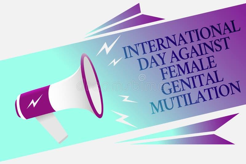 发短信给显示国际天的标志反对女性生殖切断 概念性照片了悟天2月扩音机 皇族释放例证