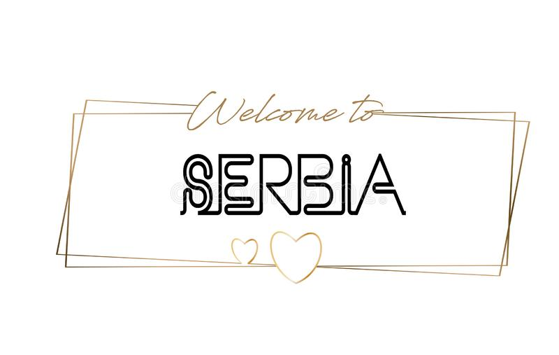 发短信给霓虹在上写字的印刷术的塞尔维亚欢迎 略写法的,徽章,象,明信片,商标,横幅传染媒介例证词 库存例证