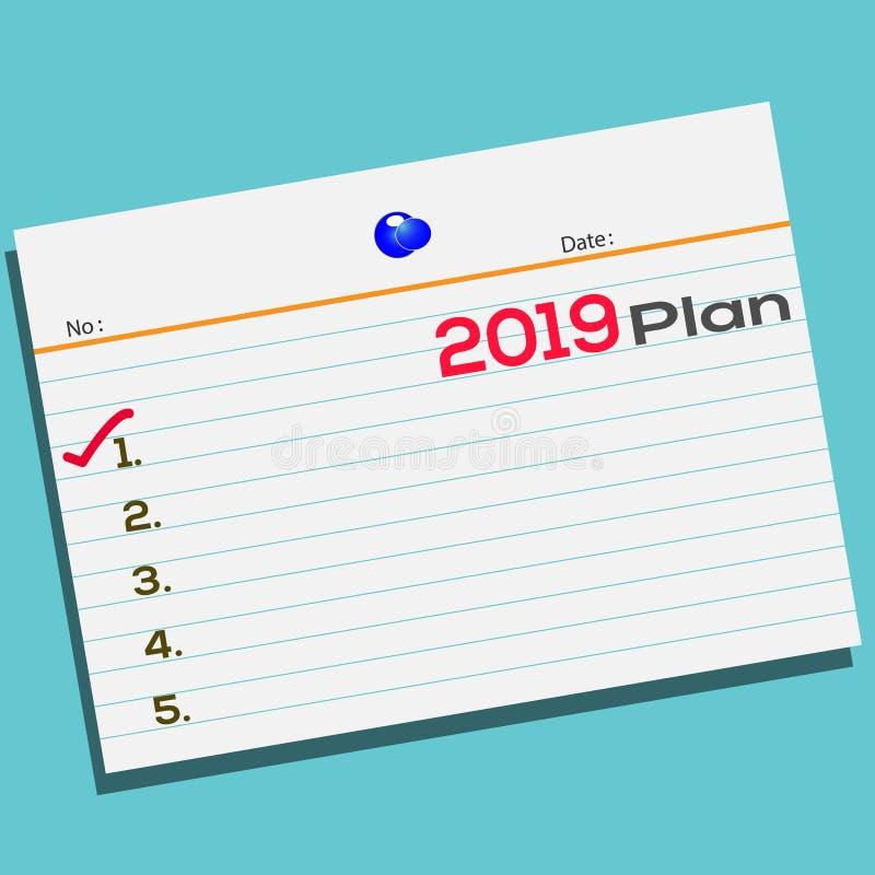 发短信给2019在纸的计划与您的贺卡的创造性的设计 库存例证