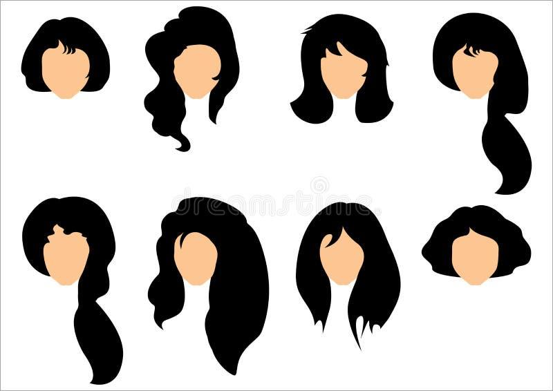 黑发称呼为妇女的套 库存例证