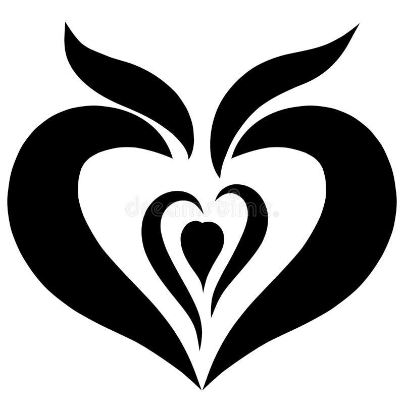 发芽的种子心形,黑样式、自然和爱 皇族释放例证