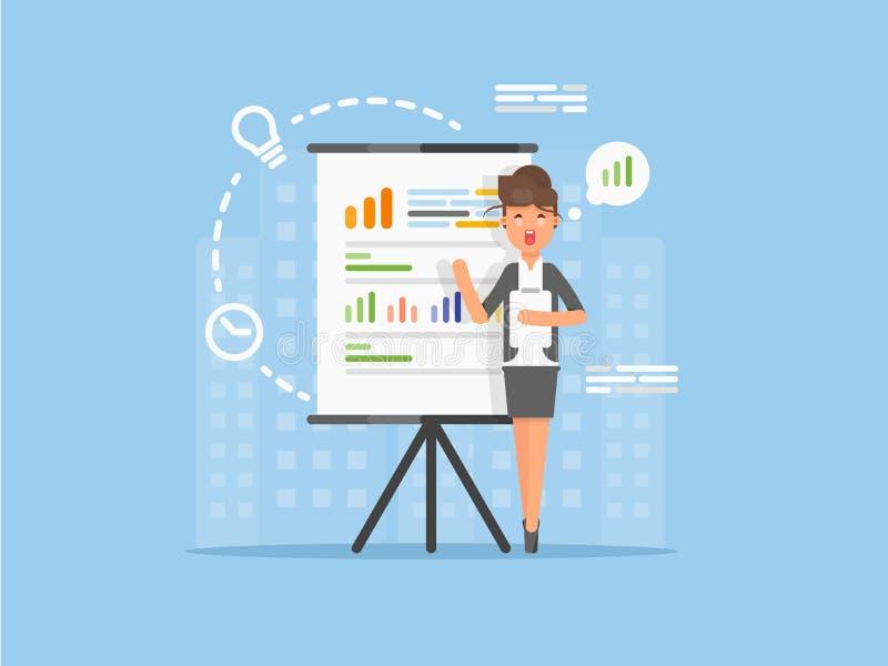 发表讲话的平的女商人显示项目的介绍,销售在介绍屏幕上的统计图表 皇族释放例证