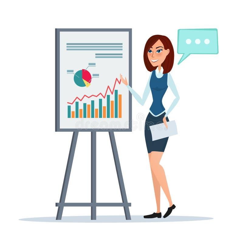 发表介绍讲话的女商人显示行销 库存例证