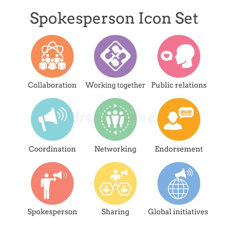 发言人象设置了-手提式扬声机、协调、PR和公众r 库存例证