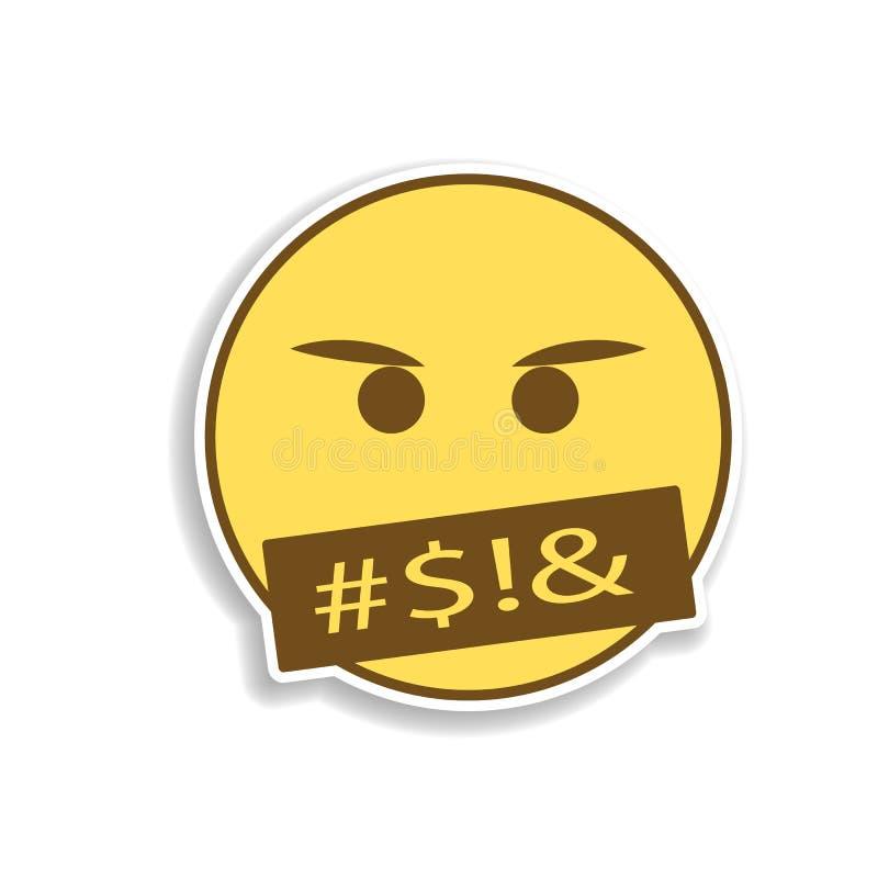 发誓色的emoji贴纸象 emoji的元素流动概念和网应用程序例证的 皇族释放例证