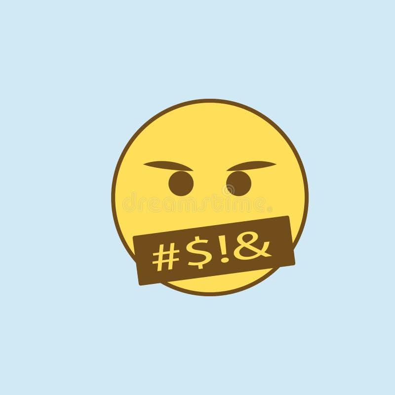发誓2种族分界线象 简单的黄色和棕色元素例证 发誓概念概述从emoji集合的标志设计 皇族释放例证