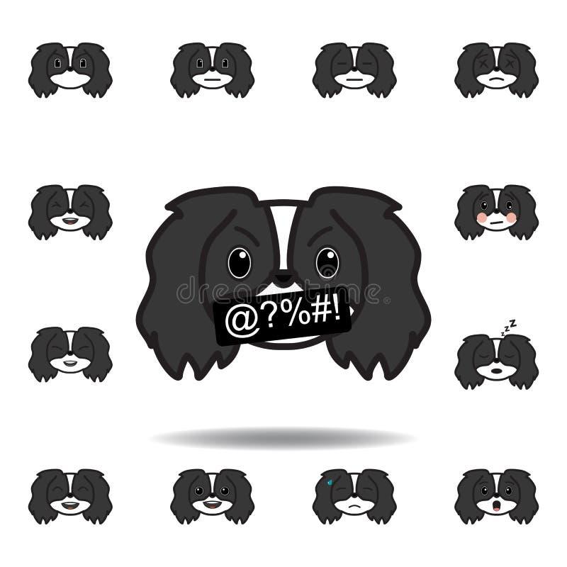 发誓pekingese的emoji多彩多姿的象 设置pekingese emoji例证象 标志,标志可以为网,商标使用, 向量例证