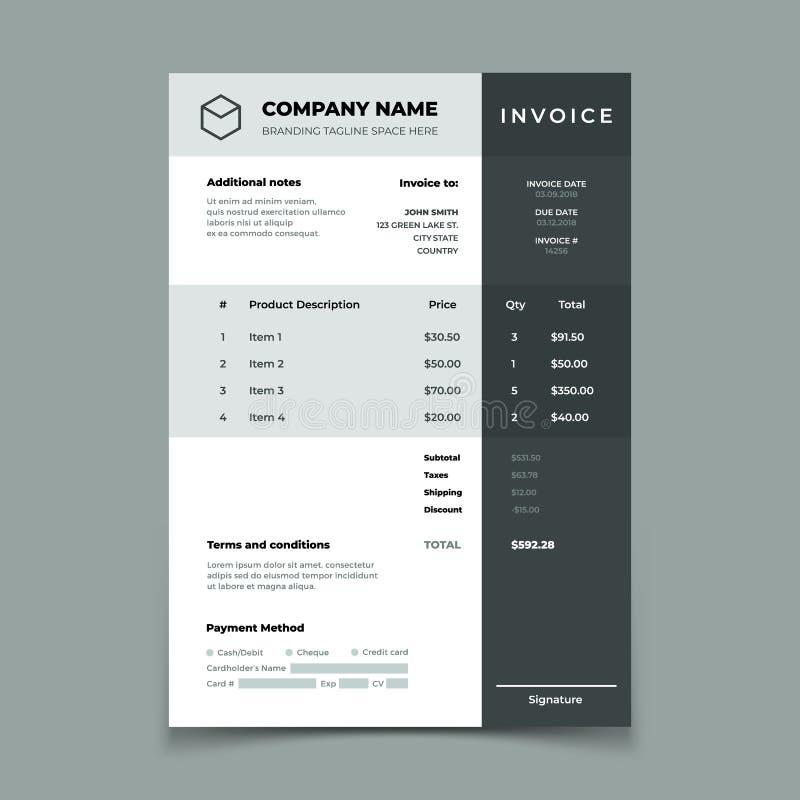 发货票模板 有价格桌的比尔 纸命令簿记服务文件 引文传染媒介设计 皇族释放例证