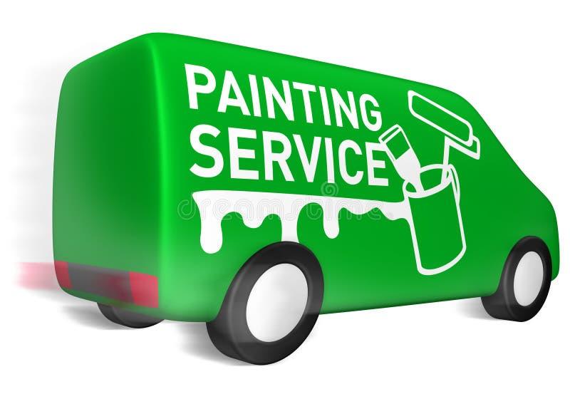 发运绘画服务有篷货车 向量例证