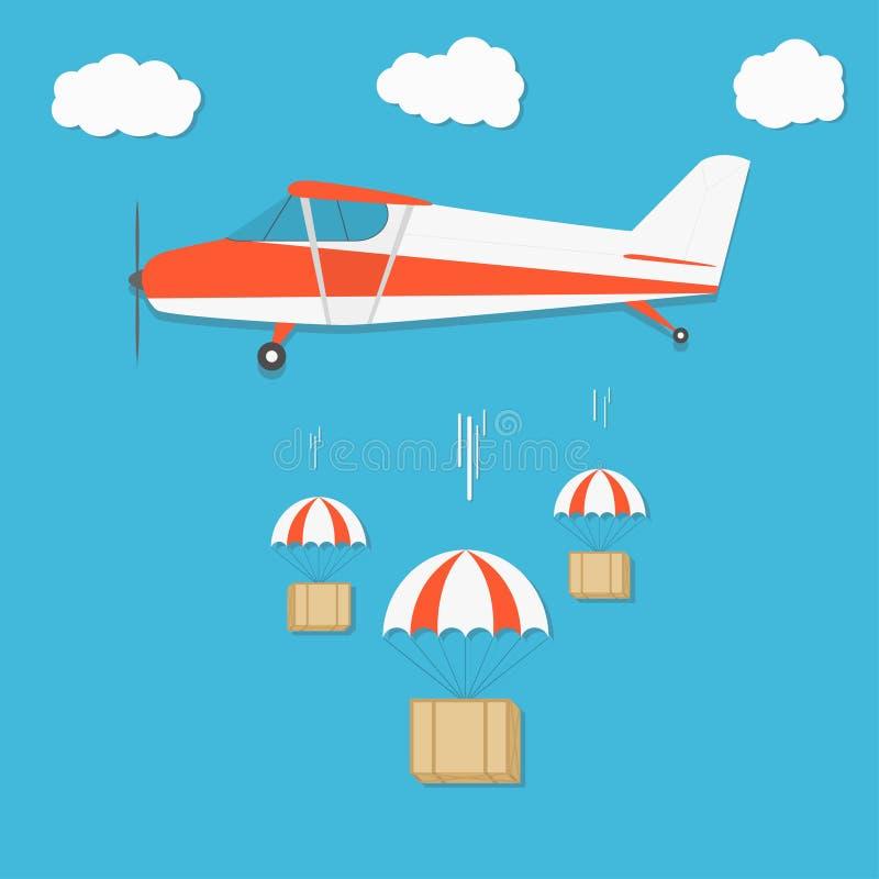 发运 有降伞箱子包裹的飞机在蓝天背景 向量例证