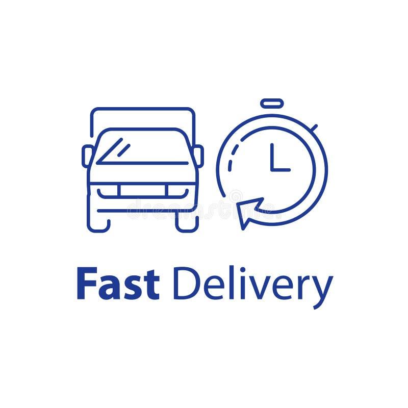 发送时间时线象,运输车和秒表,出租卡车服务,传染媒介例证 库存例证