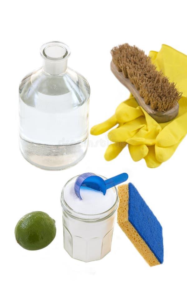 发面苏打顶视图与,蓝色,捞出黄色手套,刷子柠檬,醋,自然混合,有效的家的绿色的 免版税图库摄影
