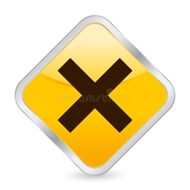 取消图标方形黄色 库存例证