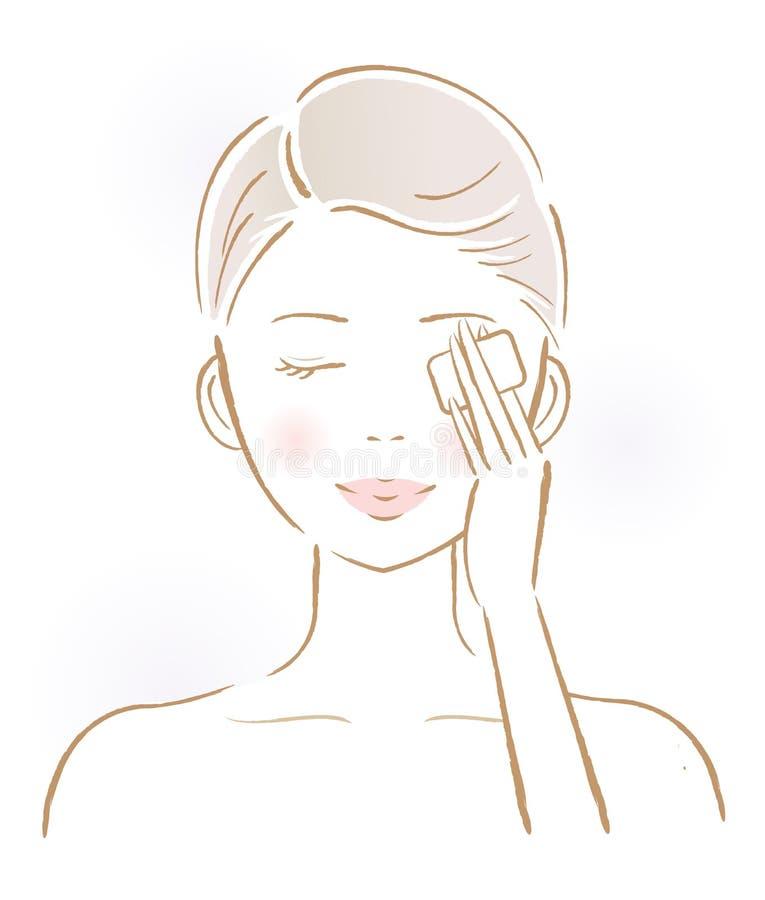 取消构成的美丽的妇女与棉花垫 秀丽和护肤概念 库存例证
