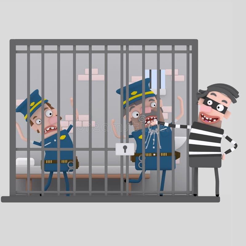 取笑被拘捕的警察的窃贼 3d 库存例证