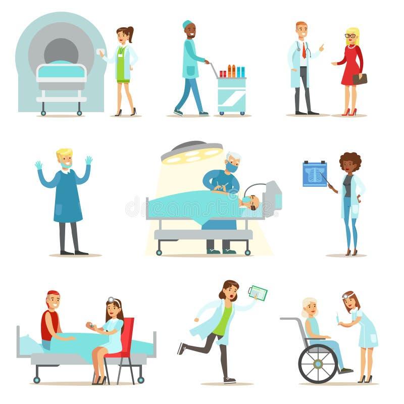 受伤的和病的患者在接受医疗医疗保健的医院从专业医生和护士 库存例证