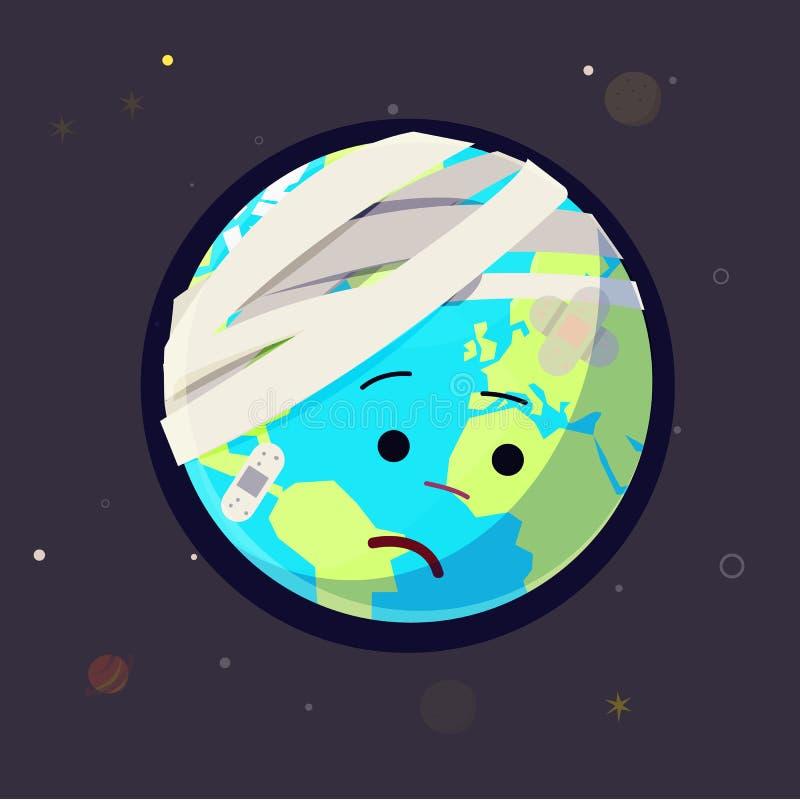 受伤的地球,疼的世界概念- 库存例证
